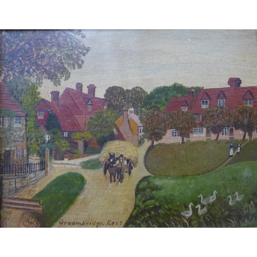 19 - English Naive School (19th Century), a Cottage at Whitley, Surrey and Groombridge, Kent by W.F. Dawe...