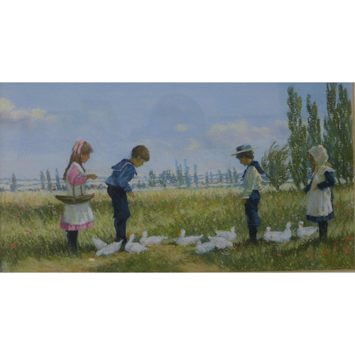2 - James H. Tyther, summer landscape with children in an orchard, pastel, unsigned, 20 x 38cms, framed...