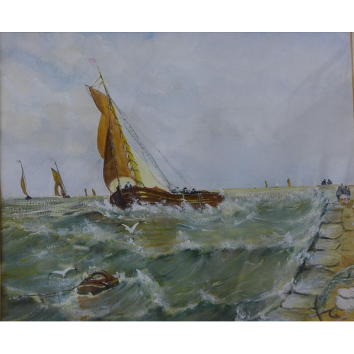 20 - English School, marine landscape with boats in rough seas, watercolour, unsigned, 25 x 30cms, framed...