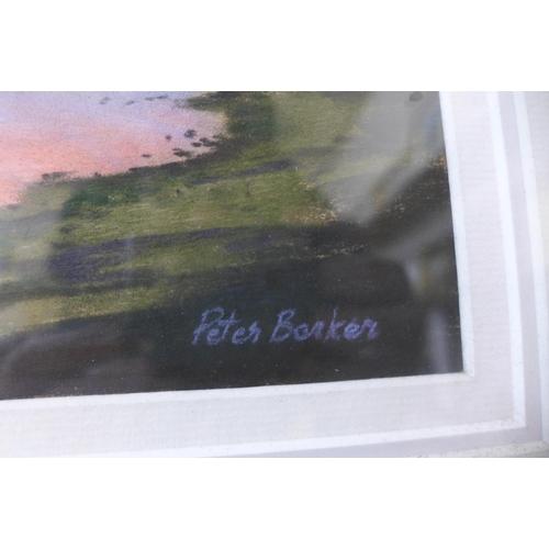 21 - Peter Barker, (b.1954), Sunset At Barnsdale, pastel, 24cms x 31cms, framed...