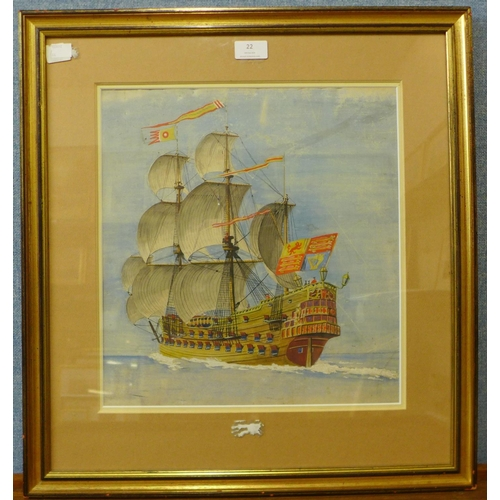 22 - A.D. Bell (pseudonym for Alfred Knox), man o' war at sea, watercolour, 37 x 35cms, framed...