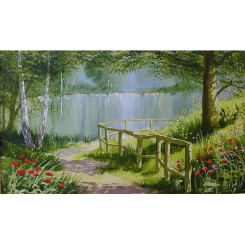 23 - Terry Harrison, Path Beside The Lake, watercolour, 29 x 48cms, framed...