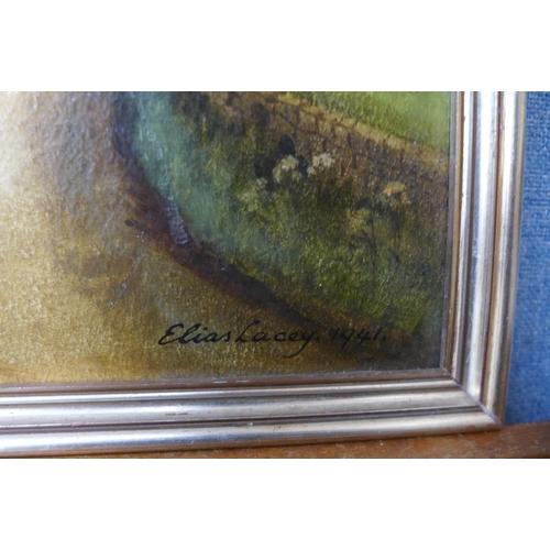 24 - Elias Lacey, village scene, oil on board, 29 x 40cms, framed...