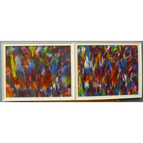 25 - M.B., pair of abstracts, mixed media on board, 39 x 50cms, framed...