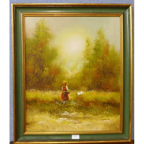 28 - P. Wilson, landscape with girl and dog in a field, oil on canvas, 60 x 49cms, framed...