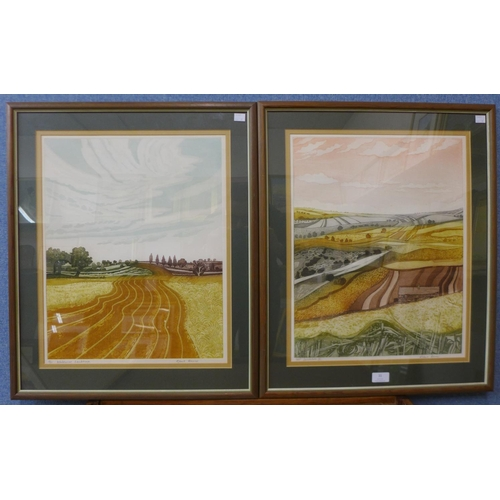 31 - A pair of signed Robert Barnes limited edition artists proof prints, Windswept Landscape and Swaleda...