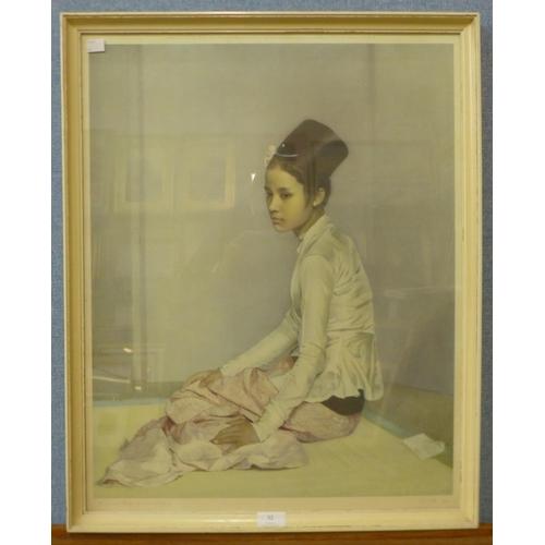 32 - A Sir Gerald Kelly print, Saw Ohn Nyum, 64 x 50cms, framed...