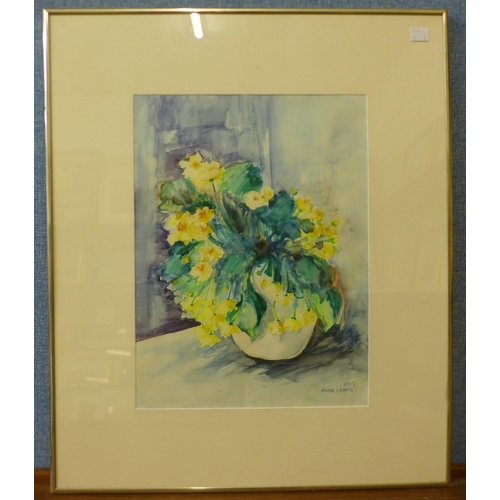 38 - Anna Lampe, three still lifes, two oils on canvas, 50 x 40cms and 17 x 12cms and a watercolour, 39 x...
