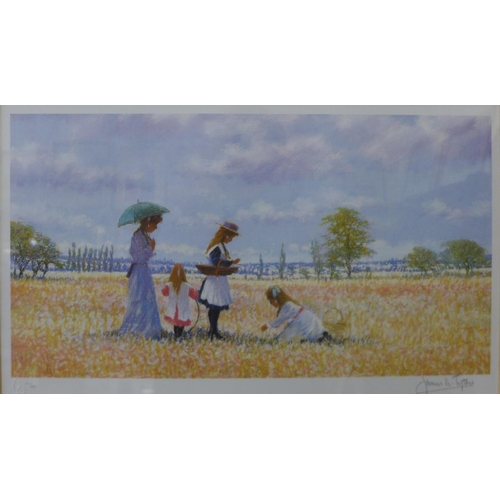 4 - A pair of signed James H. Tyther limited edition prints, pair of summer landscapes with figures, 23c...
