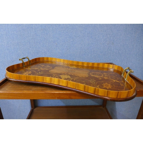 45 - A Victorian mahogany and satinwood marquetry inlaid serving tray, 41 x 62cms...
