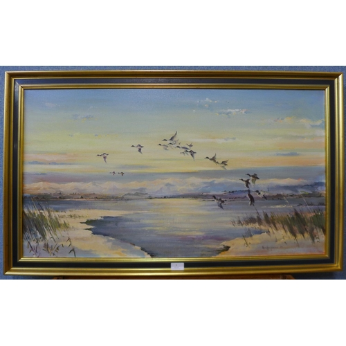 5 - Ron Humphries, winter lake scene with ducks in flight, oil on canvas, 50 x 90cms, framed...