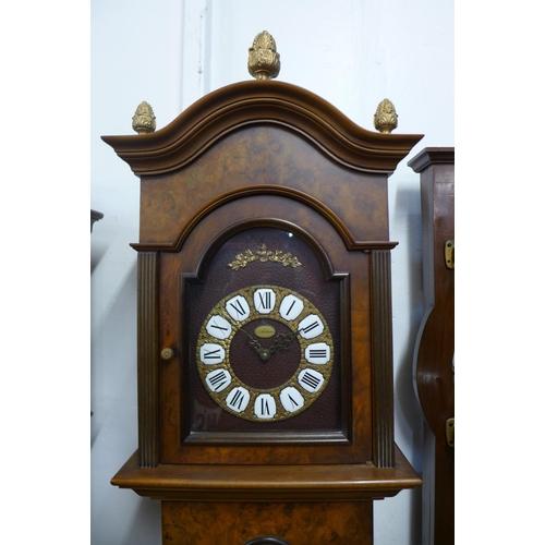 61 - An Artime walnut triple weight longcase clock, 202cms h...