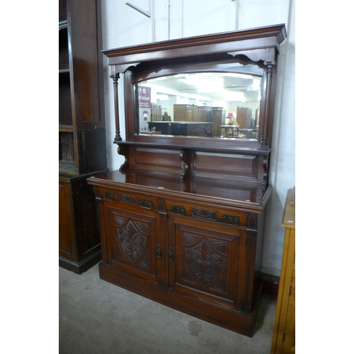 70 - A late Victorian walnut mirrorback sideboard, 195cms h, 136cms w, 48cms d...