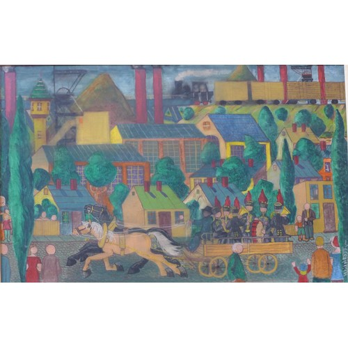 36a - Leopold Wrobel (Polish 1922-1985), town scene with military band being driven by horse and cart, wit...