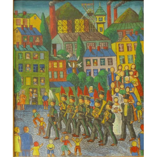 36b - Leopold Wrobel (Polish 1922-1985), town scene with military band playing to a wedding ceremony, with...