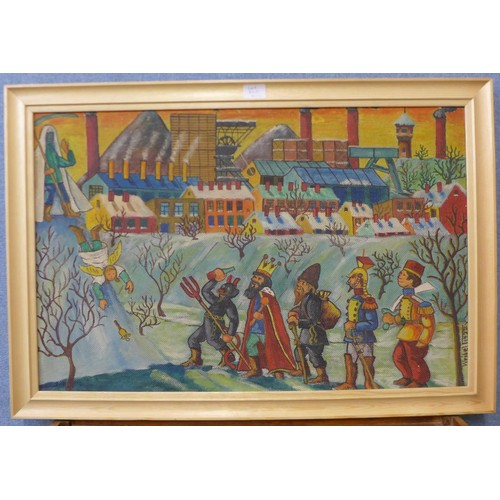 36c - Leopold Wrobel (Polish 1922-1985), town scene with the grim reaper, an angel, the devil and other fi...