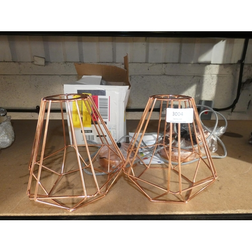 3004 - Two Shelley copper style wire pendant lights * this lot is subject to VAT...