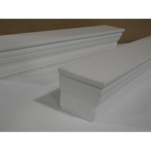 3027 - Two white floating wall shelves (61cm length) * this lot is subject to VAT...