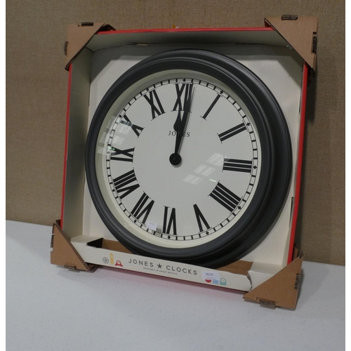 3029 - A Jones slate grey circular wall clock (D 48cm) * this lot is subject to VAT...