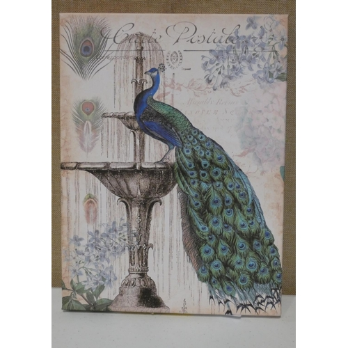 3031 - A vintage peacock canvas by Tre Sorelle Studios (41 x 31cm) * this lot is subject to VAT...