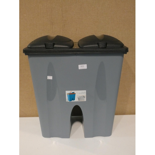 3034 - A plastic 2 x 25l waste bin * this lot is subject to VAT...