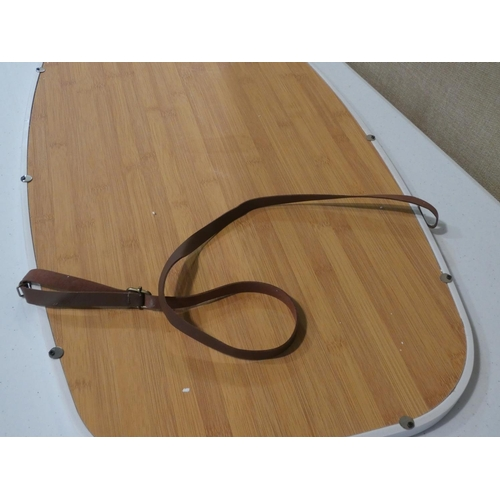 3042 - A white framed leather strapped hanging mirror (77 x 44cm) * this lot is subject to VAT...