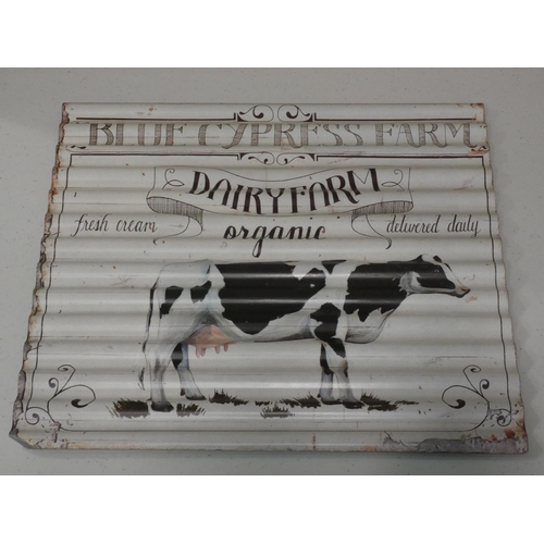 3046 - Two tin plate corrugated wall signs (farm scene 2 x 40x40cm) * this lot is subject to VAT...