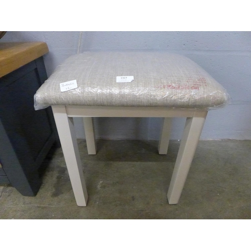 1327 - A grey upholstered stool * this lot is subject to VAT...