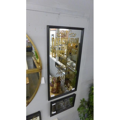 1363 - A 'Fruits de Mer' bistro mirror, 74cm x 38cm (TJN032117)   #...