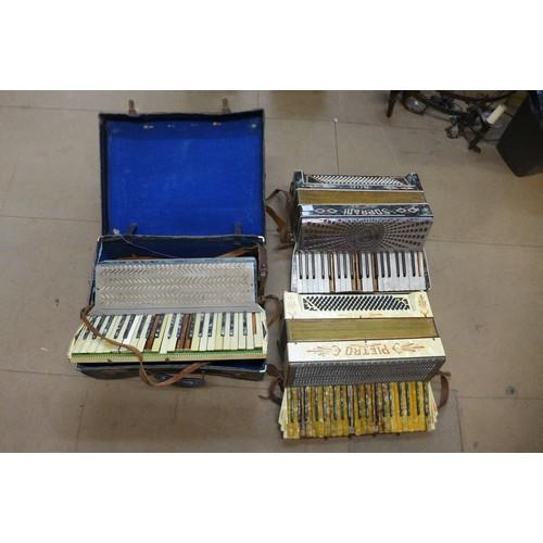 599 - Three Italian piano accordions, a/f...