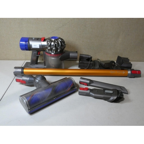 3030 - Dyson V8 Absolute vacuum cleaner with charging lead, mount and 3 accessories, RRP £429.99 + VAT     ...