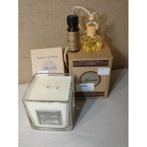 3034 - Spirit Aromatherapy Candle and Car Perfume (207-504)  * This Lot Is Subject To Vat