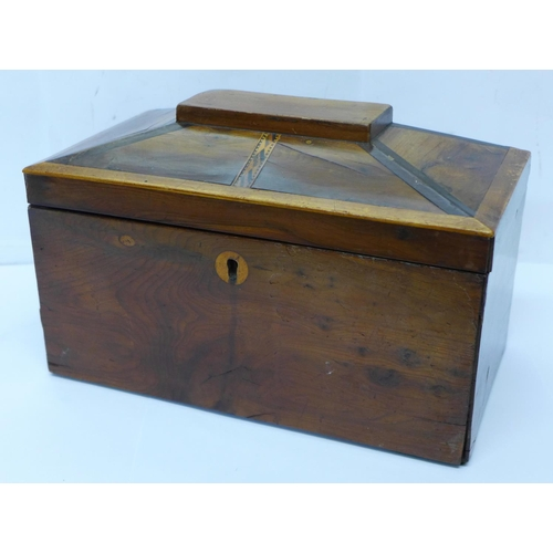 602 - A 19th Century yew wood two compartment tea caddy, internal lids a/f, 23cm...