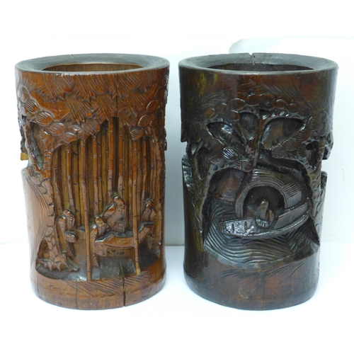 603 - Two Chinese carved bamboo brush pots, one stained, 20cm...