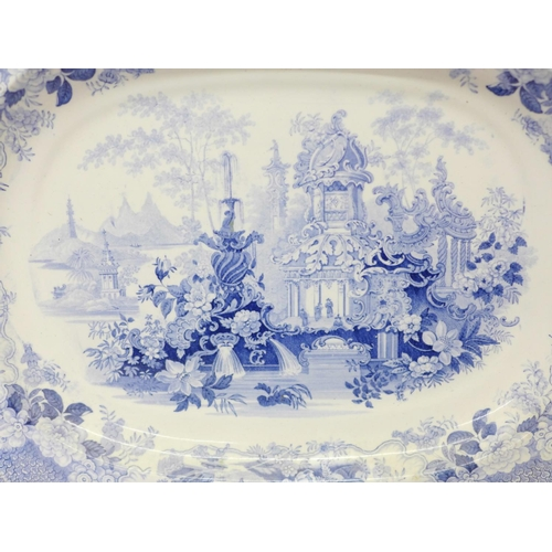 608 - A 19th Century pale blue and white transfer printed plate, marked 'Sicilian', 49.5cm...