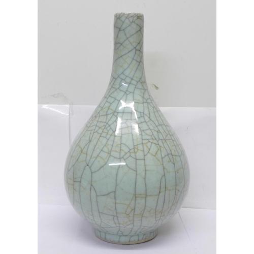 630 - A large Chinese Guan ware celadon crackle glaze bottle vase, 38cm
