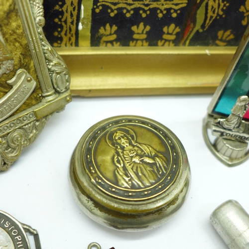 659 - A collection of religious items including Rosary, medallions, figure, miniature travel figure, Holy ...