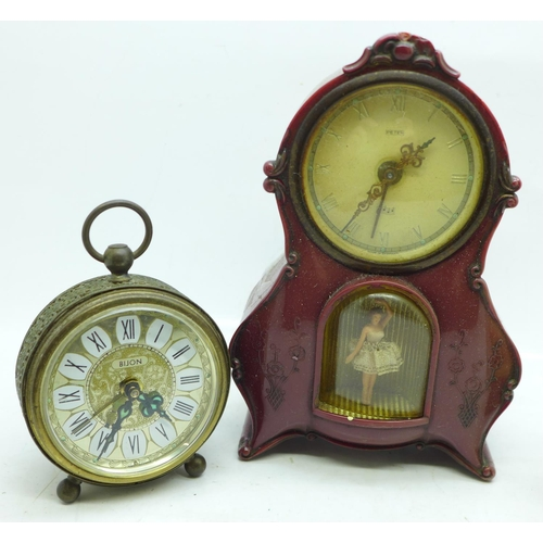 607 - Five clocks including two Swiza 8 day...