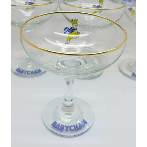 609 - Six Babycham glasses...