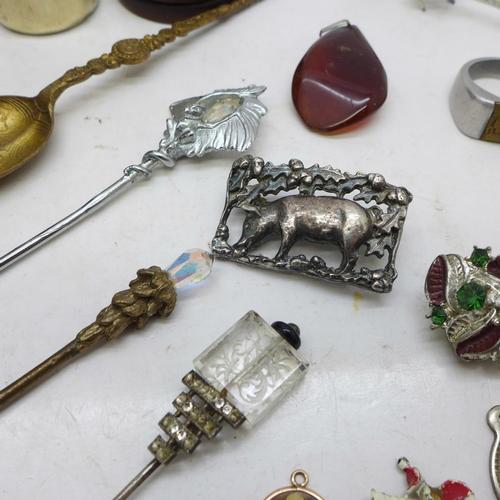 615 - A novelty plated beer bottle shaped pepper, a wristwatch, an aluminium ring, an unmounted compass, e...