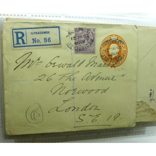 623 - Stamps; GB postal history, six pre-stamp and later, (50 items)...