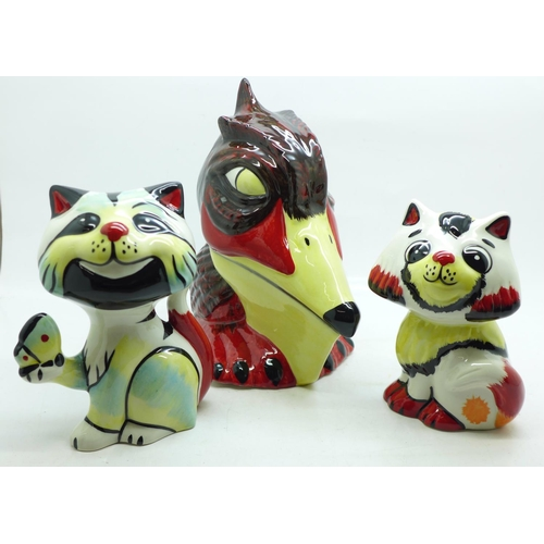 627 - Three Lorna Bailey figures, Spike the Pelican, Cat with Butterfly and Honey, tallest 14cm...