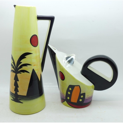 628 - A Lorna Bailey teapot-Manhattan design, 14cm, and a Lorna Bailey tall jug decorated in the Pyramids ...