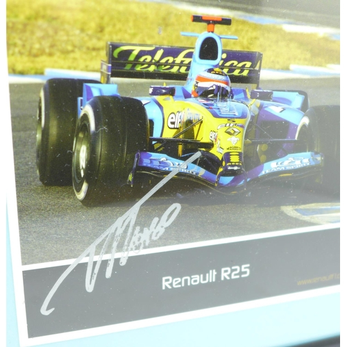 634 - A framed and signed picture of double world champion Fernando Alonso...