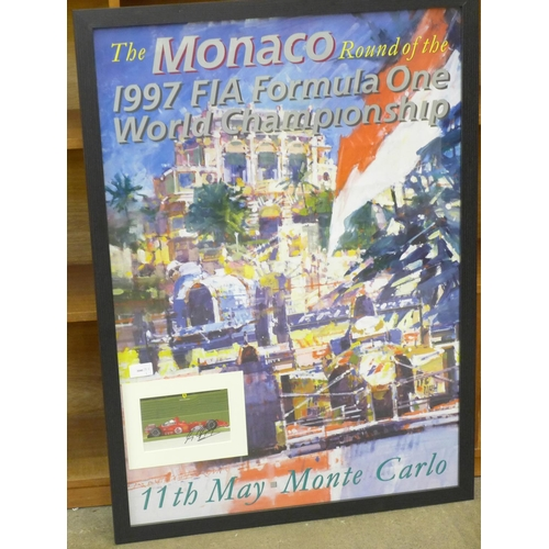 637 - A large A1 poster, 1997 Monaco Grand Prix with mounted signed picture of winner Michael Schumacher...