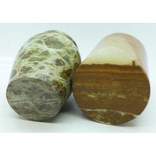 639 - Two hardstone vases/pots, (cylindrical pot restored on the rim), 8-9cm...