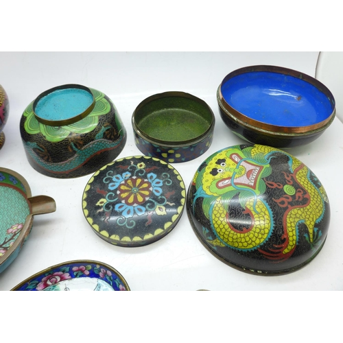643 - Nine items of cloisonne, most a/f...