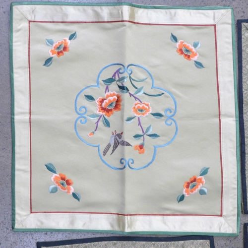 644 - Six Chinese silk embroideries...