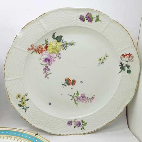 647 - Three cabinet plates, Sevres, (cracked through the centre), Meissen, (chipped on the rim and foot), ...