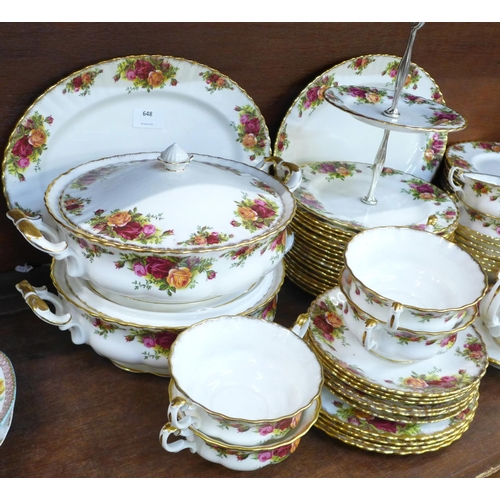 648 - Royal Albert Old Country Roses dinnerwares, eleven dinner plates, sixteen side plates, six soup bowl...